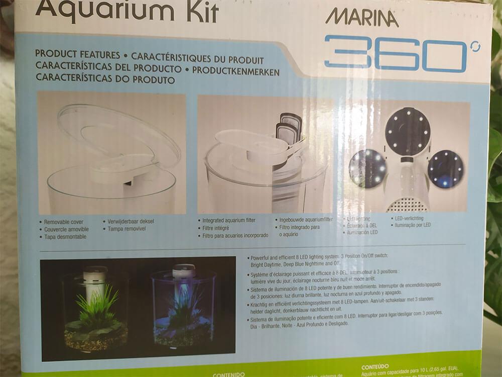 Emballage du Marina 360 - caractéristiques techniques de l'aquarium