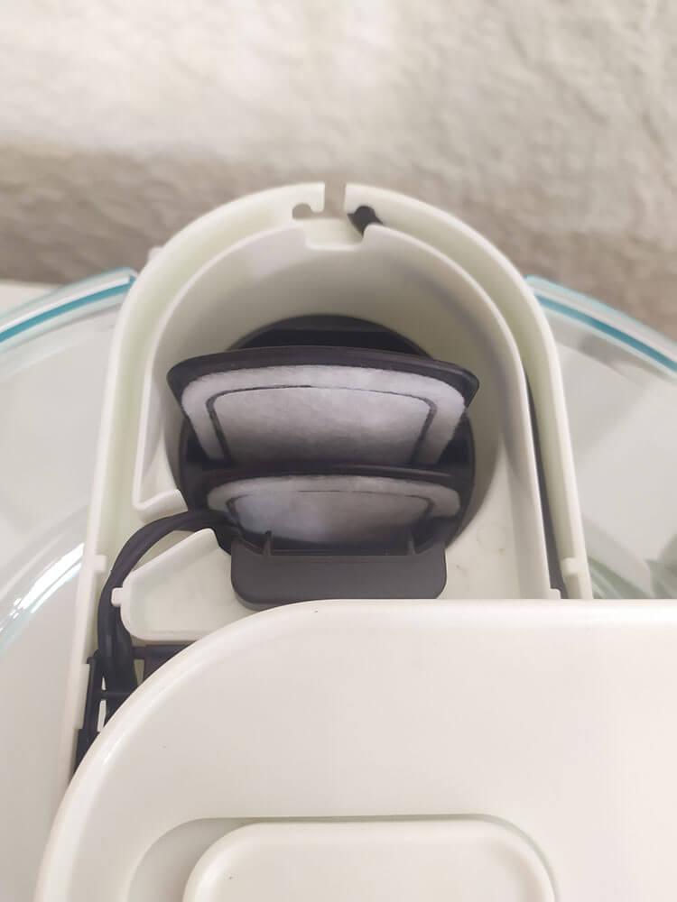 Marina 360 : les deux cartouches fournies placées dans le filtre
